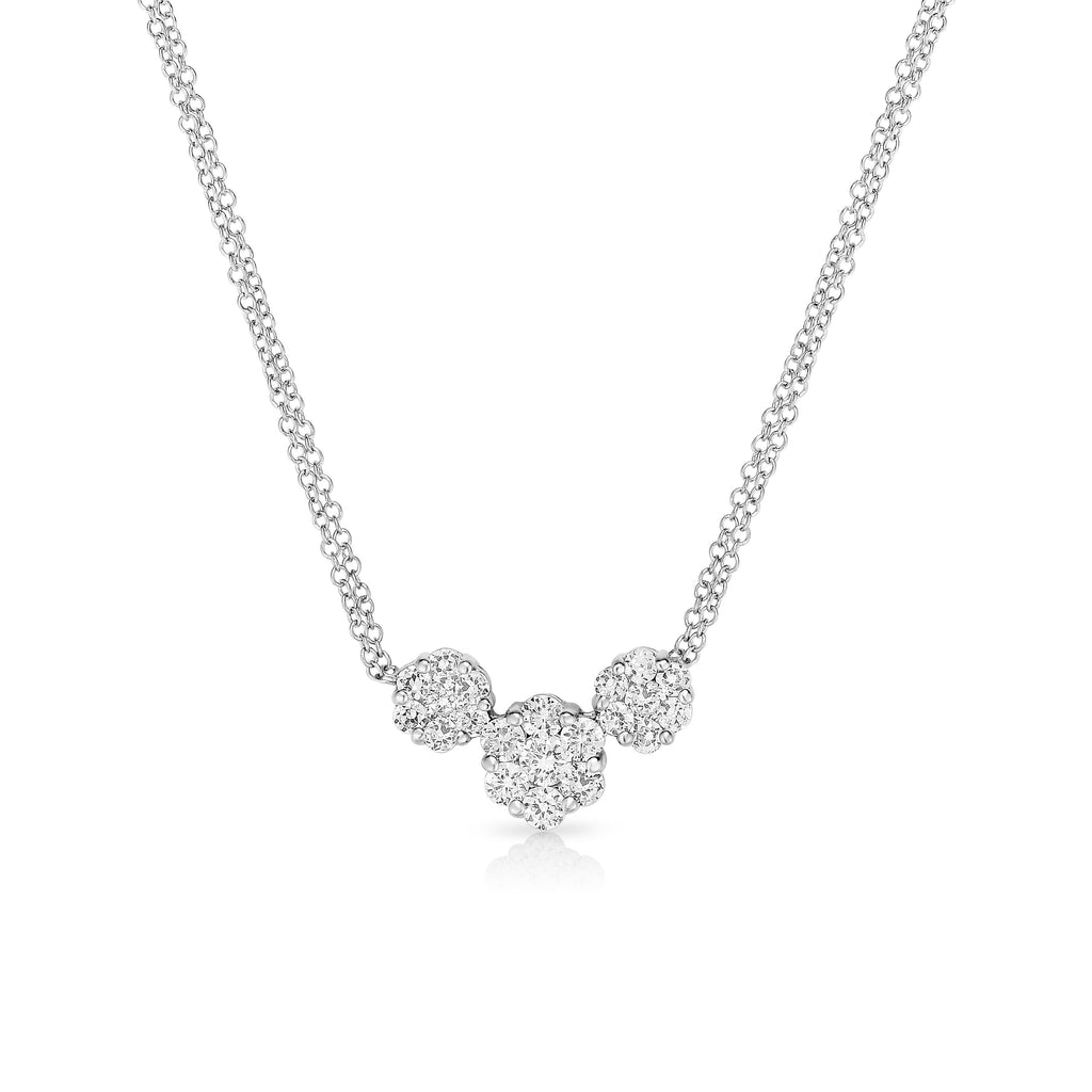14K White Gold Diamond (1 Ct, G-H Color, SI2-I1 Clarity) Cluster Necklace