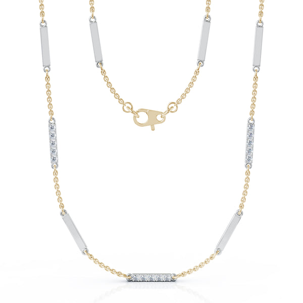 14K White Gold Diamond & Gold Bar Chain Two-Tone Station Necklace, 26