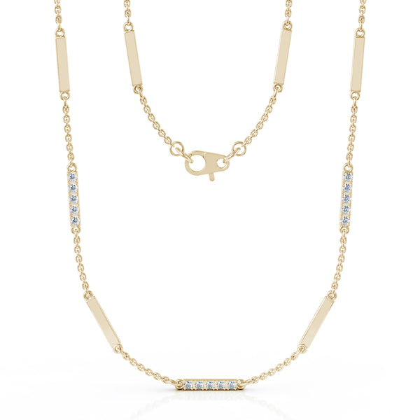 14K Gold Diamond & Gold Bar Chain Station Necklace, 26