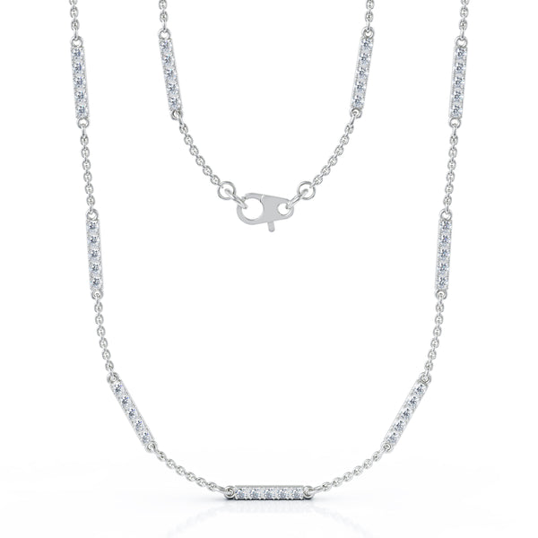 14K Gold Diamond Bar Chain Station Necklace, 20