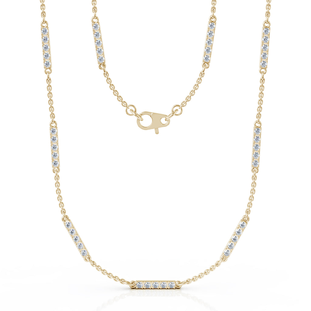 "14K Gold Diamond Bar Chain Station Necklace, 20"" (0.65 Ct, G-H, SI2-I1)"