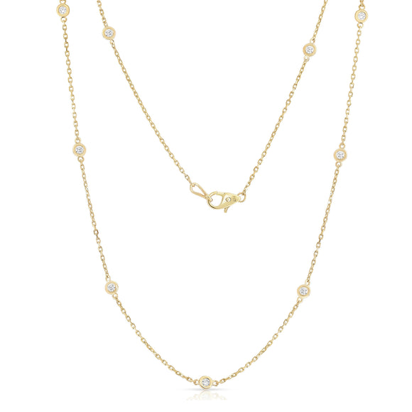 14K Yellow Gold 12 Station Necklace (1.20 Ct, G-H, SI2-I1), 21 Inches