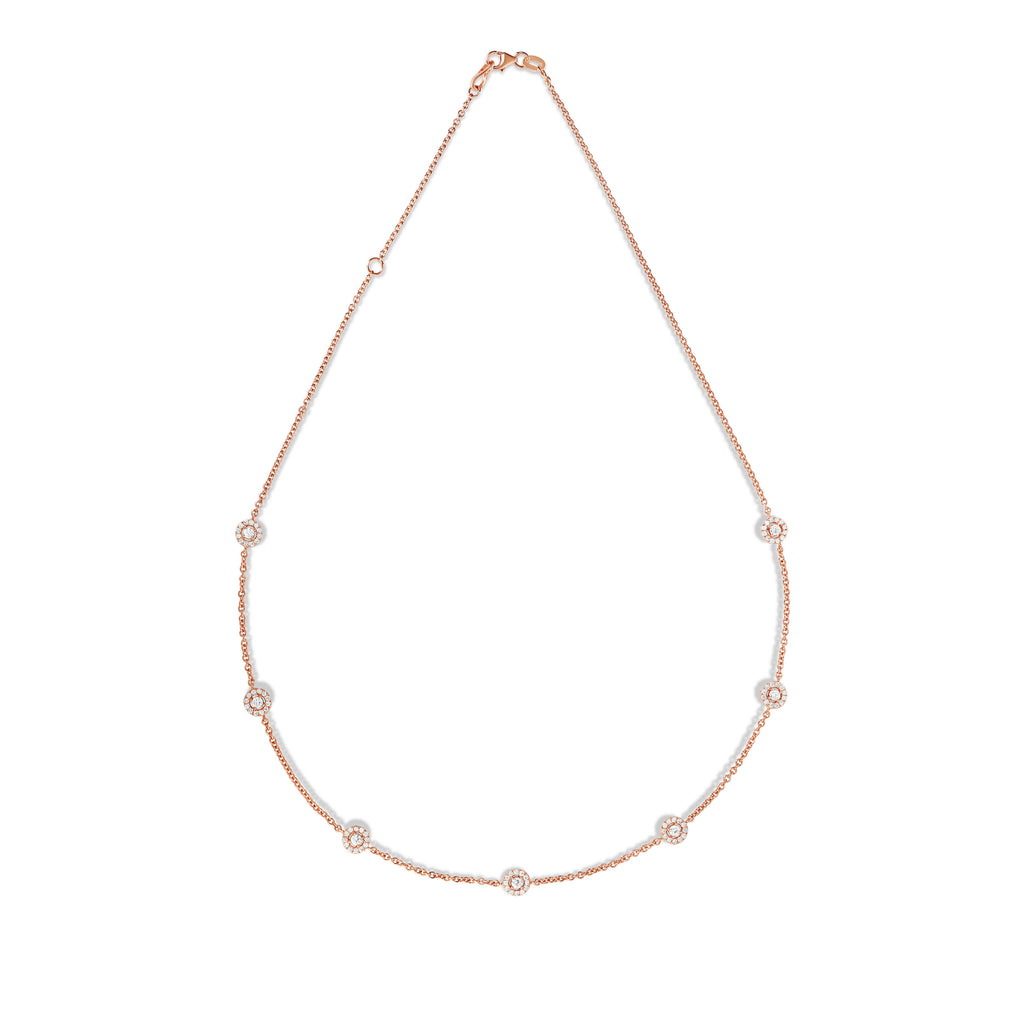 "14K Rose Gold Diamond  (1.70 Ct, G-H Color, SI2-I1 Clarity) 7 Station Cluster Necklace, 16""-18"""