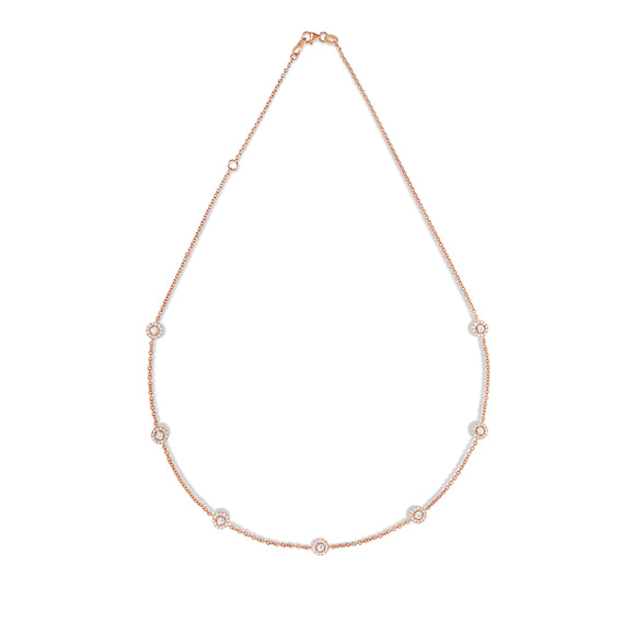 "14K Rose Gold Diamond  (1.70 Ct, G-H Color, SI2-I1 Clarity) Cluster by the Yard Necklace, 16""-18"""