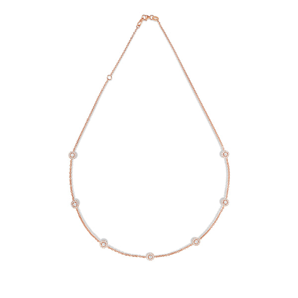 14K Rose Gold Diamond  (1.70 Ct, G-H Color, SI2-I1 Clarity) 7 Station Cluster Necklace, 16