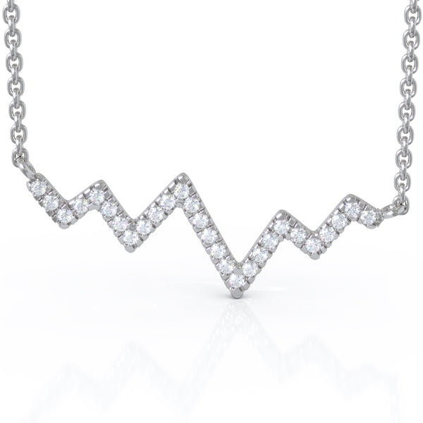 14K Gold Diamond Heartbeat Necklace (0.22 Ct, G-H Color, I1-I2 Clarity)