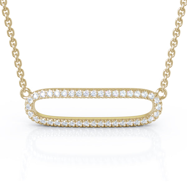 14K Gold Diamond Paper Clip Link Necklace (0.25 Ct, G-H Color, I1-I2 Clarity)