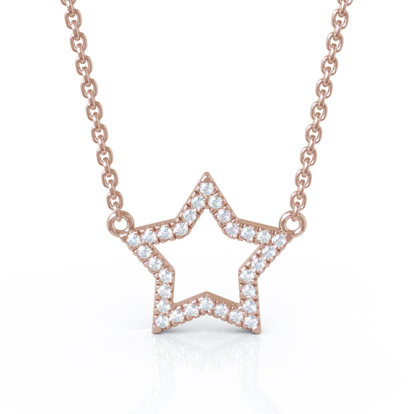 14K Gold Diamond Star Necklace (0.20 Ct, G-H Color, I1-I2 Clarity)