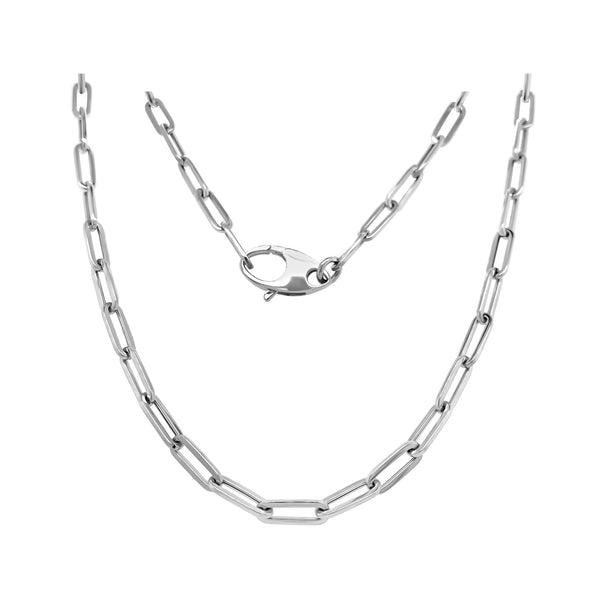 14K Gold 3.6MM Link Paperclip Link Chain Necklace, 20