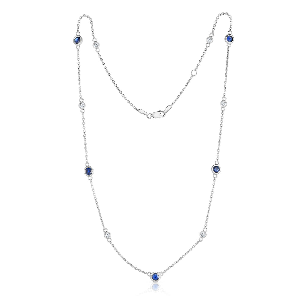 "14K White Gold Blue Sapphire & Diamond by 11 Station Necklace (0.30 Ct, G-H, SI2-I1), 17-18"" Chain"