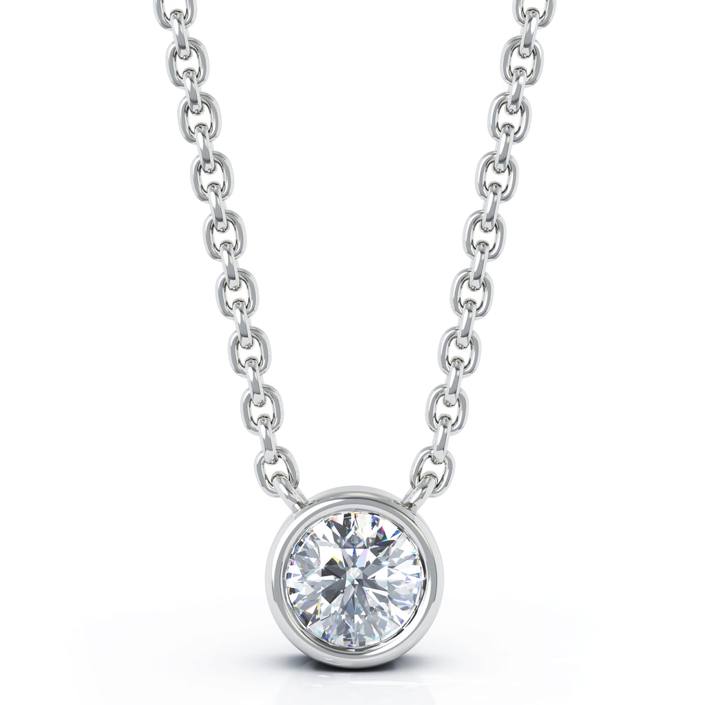 14K Gold Diamond (0.25 Ct, G-H Color, SI2-I1 Clarity) Bezel Solitaire Necklace, 15-16""
