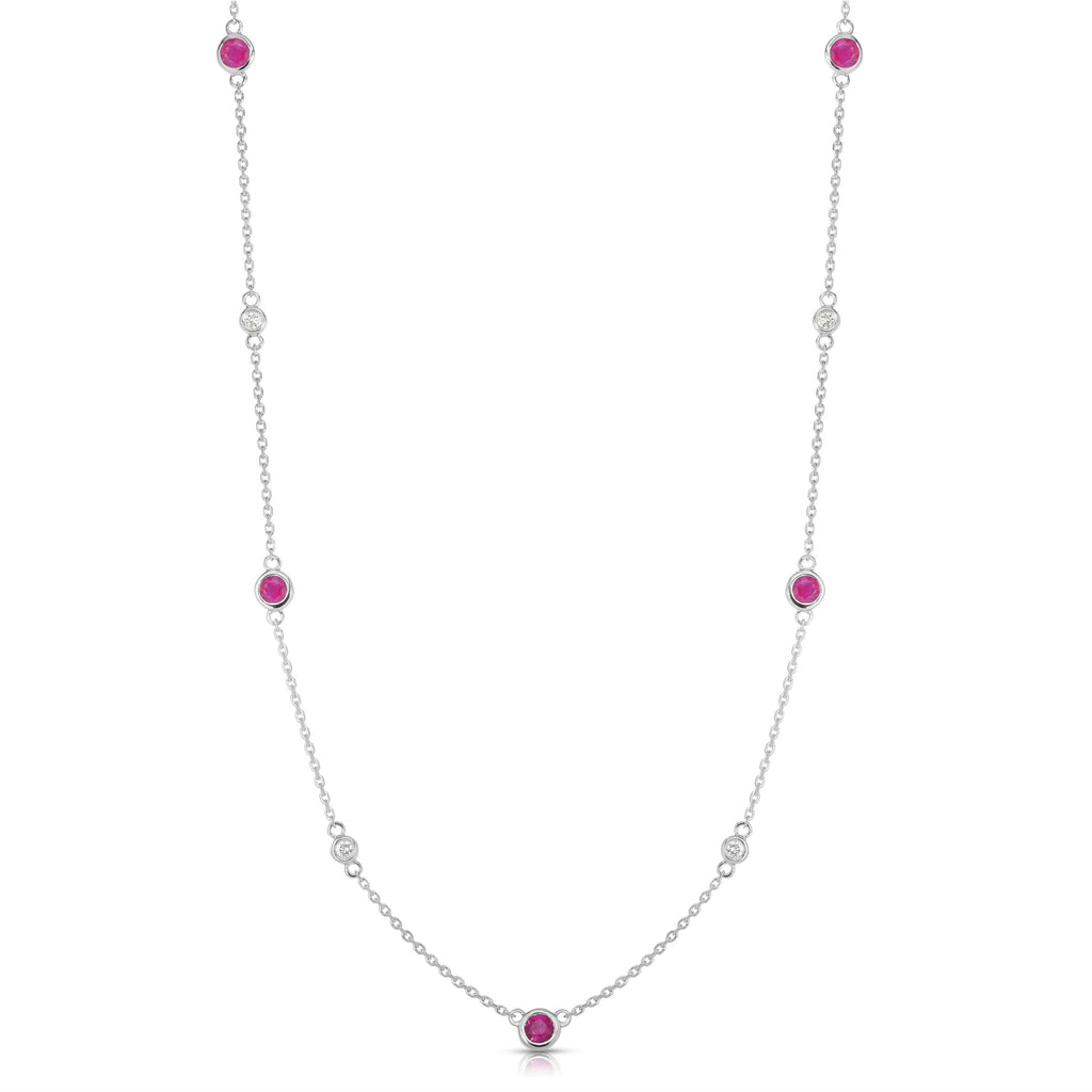 "14K White Gold Ruby & Diamond by the Yard 11 Station Necklace (0.30 Ct, G-H, SI2-I1), 17-18"" Chain"