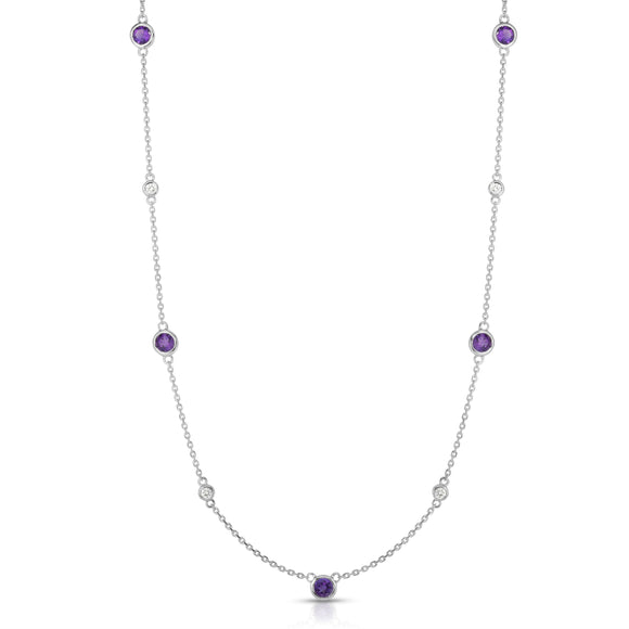 "14K White Gold Amethyst & Diamond 11 Station Necklace (0.30 Ct, G-H, SI2-I1), 17-18"" Chain"
