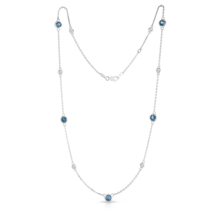 "14K White Gold London Blue Topaz & Diamond 11 Station Necklace (0.30 Ct, G-H, SI2-I1), 17-18"" Chain"