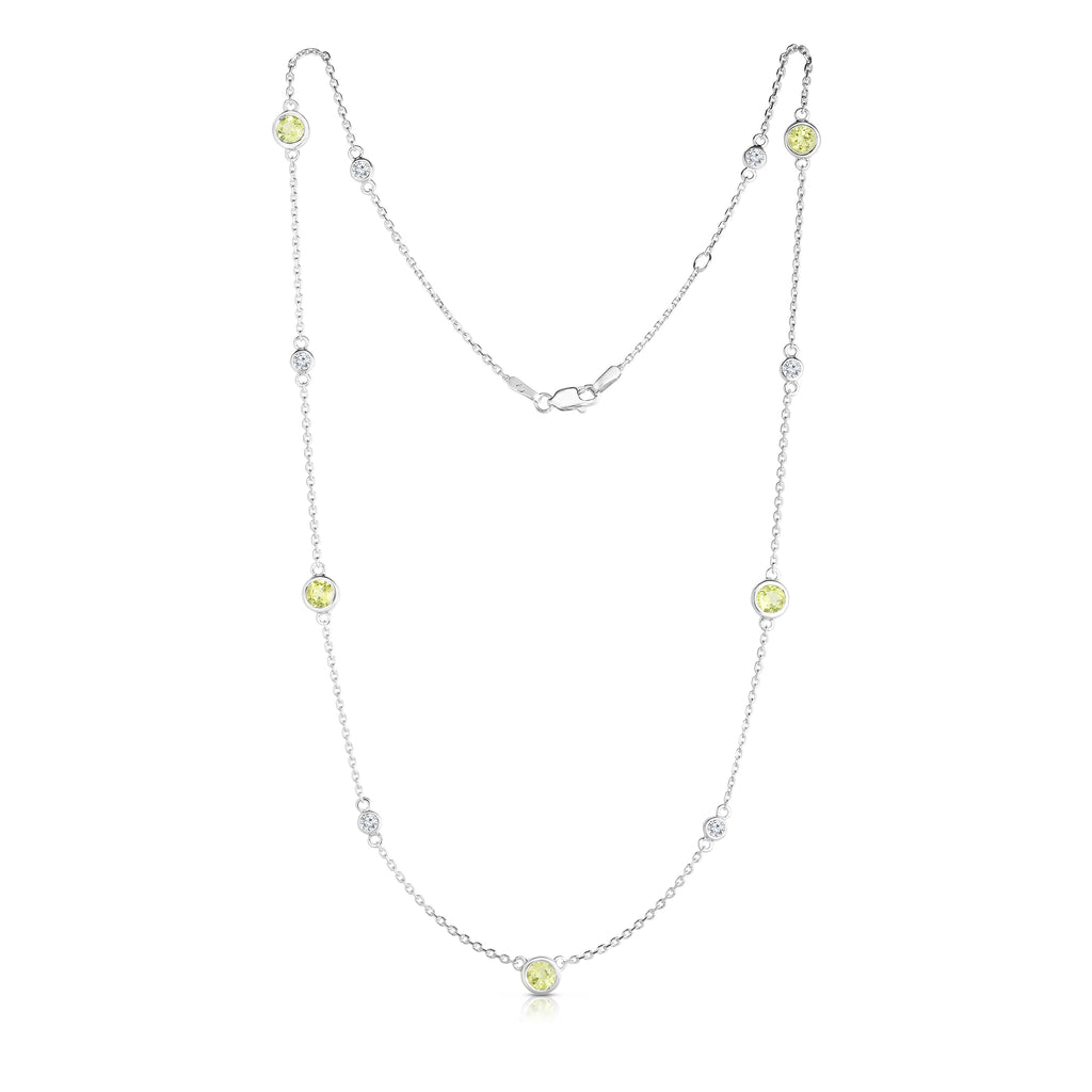 "14K White Gold 11 Station Peridot & Diamond  Necklace (0.30 Ct, G-H, SI2-I1), 17-18"" Chain"