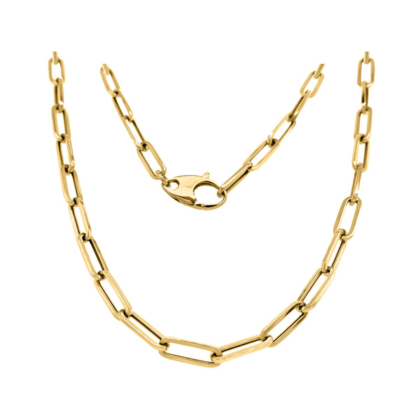 14K Gold 4.5MM Link Paperclip Link Chain Necklace, 20