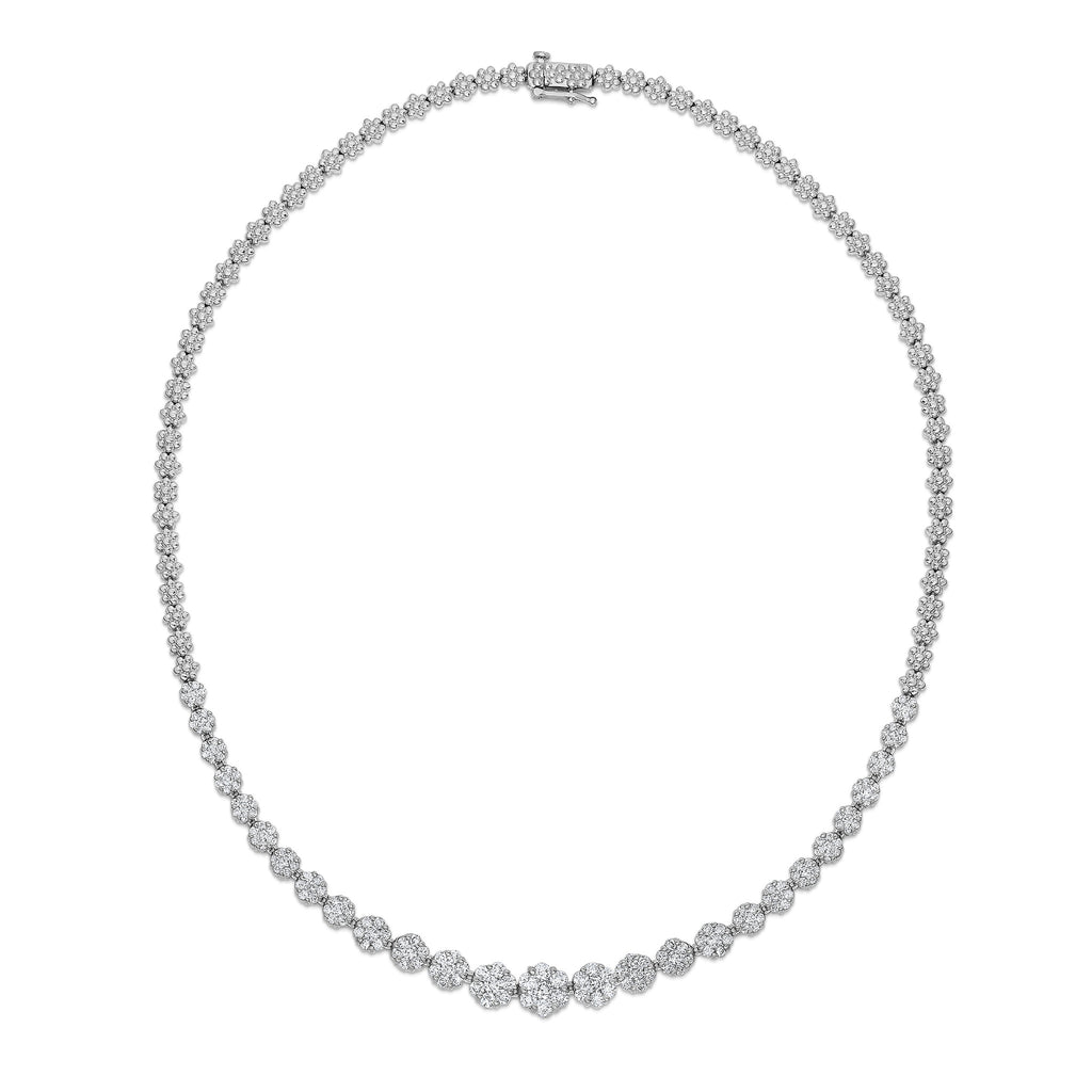 14K White Gold Diamond (5 Ct, SI2-I1 Clarity, G-H Color) Cluster Necklace