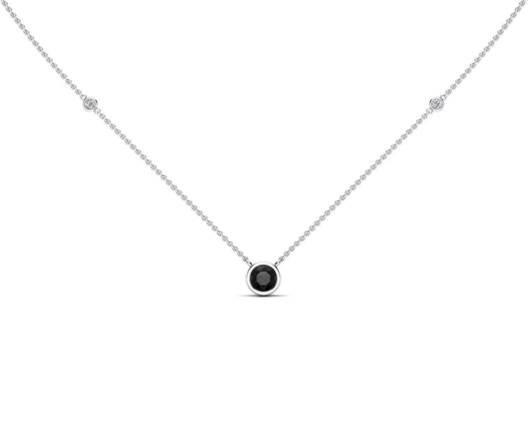 "14K Gold Black (5 MM) & White Diamond Accent (0.06 Ct, G-H Color, SI2-I1 Clarity) Necklace, 16""-18"""