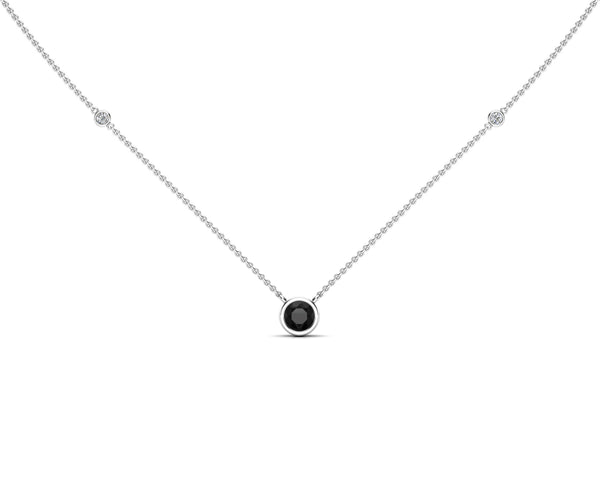 14K Gold Black (5 MM) & White Diamond Accent (0.06 Ct, G-H Color, SI2-I1 Clarity) Necklace, 16