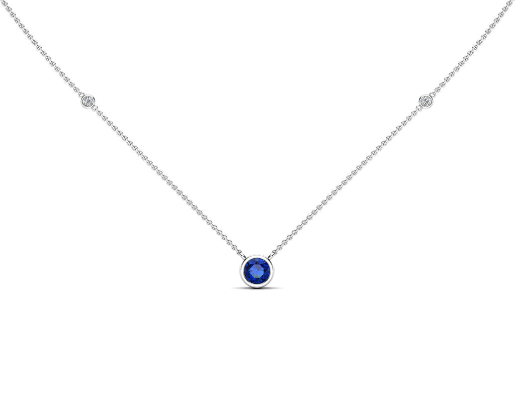"14K Gold Blue Sapphire (5 MM) & Diamond Accent (0.06 Ct, G-H Color, SI2-I1 Clarity) Necklace, 16""-18"""