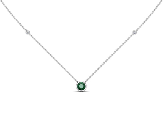 "14K Gold Emerald (5 MM) & Diamond Accent (0.06 Ct, G-H Color, SI2-I1 Clarity) Necklace, 16""-18"""
