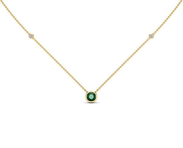 14K Gold Emerald (5 MM) & Diamond Accent (0.06 Ct, G-H Color, SI2-I1 Clarity) Necklace, 16