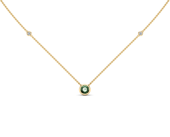 "14K Gold Green Sapphire (5 MM) & Diamond Accent (0.06 Ct, G-H Color, SI2-I1 Clarity) Necklace, 16""-18"""