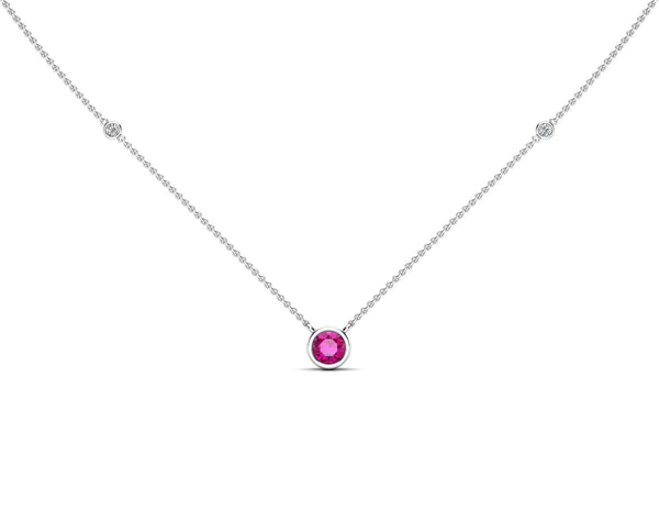 14K Gold Pink Sapphire (5 MM) & Diamond Accent (0.06 Ct, G-H Color, SI2-I1 Clarity) Necklace, 16