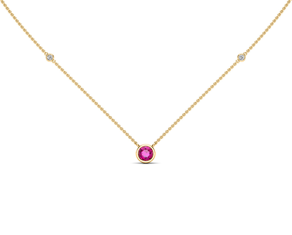 "14K Gold Pink Sapphire (5 MM) & Diamond Accent (0.06 Ct, G-H Color, SI2-I1 Clarity) Necklace, 16""-18"""