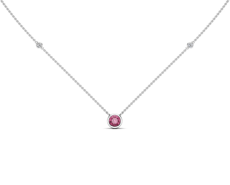 "14K Gold Light Pink Sapphire (5 MM) & Diamond Accent (0.06 Ct, G-H Color, SI2-I1 Clarity) Necklace, 16""-18"""