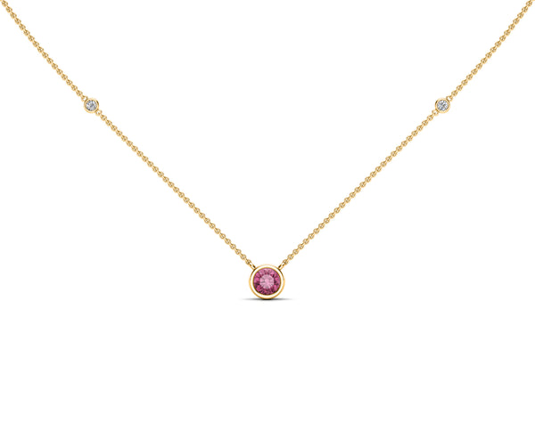 14K Gold Light Pink Sapphire (5 MM) & Diamond Accent (0.06 Ct, G-H Color, SI2-I1 Clarity) Necklace, 16