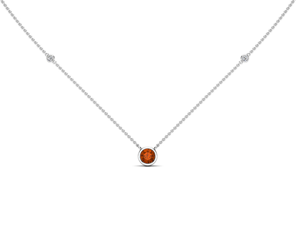 "14K Gold Orange Sapphire (5 MM) & Diamond Accent (0.06 Ct, G-H Color, SI2-I1 Clarity) Necklace, 16""-18"""