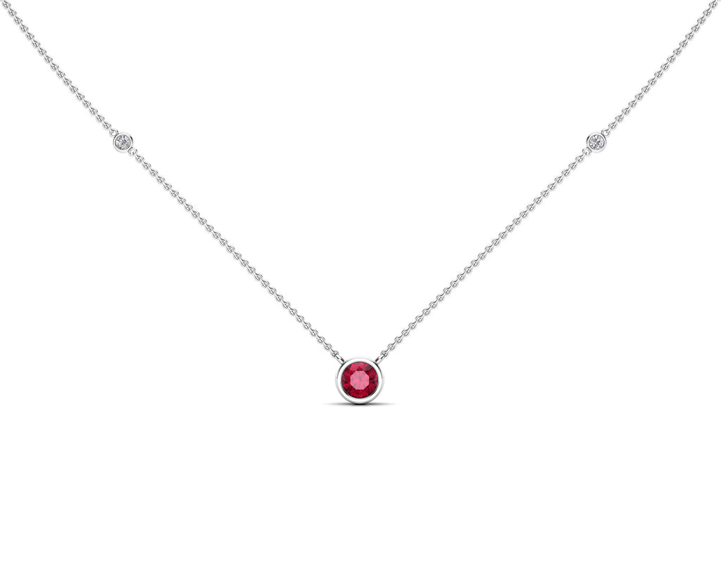 "14K Gold Ruby (5 MM) & Diamond Accent (0.06 Ct, G-H Color, SI2-I1 Clarity) Necklace, 16""-18"""
