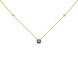 "14K Gold Tanzanite (5 MM) & Diamond Accent (0.06 Ct, G-H Color, SI2-I1 Clarity) Necklace, 16""-18"""