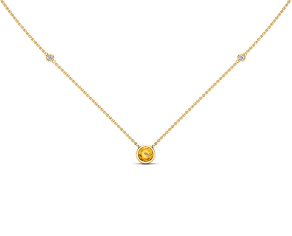 "14K Gold Yellow Sapphire (5 MM) & Diamond Accent (0.06 Ct, G-H Color, SI2-I1 Clarity) Necklace, 16""-18"""