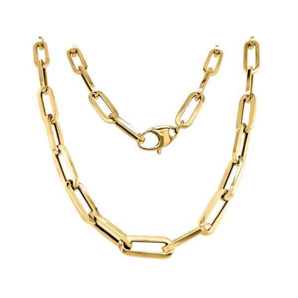 14K Gold 6.0MM Link Paperclip Link Chain Necklace, 20