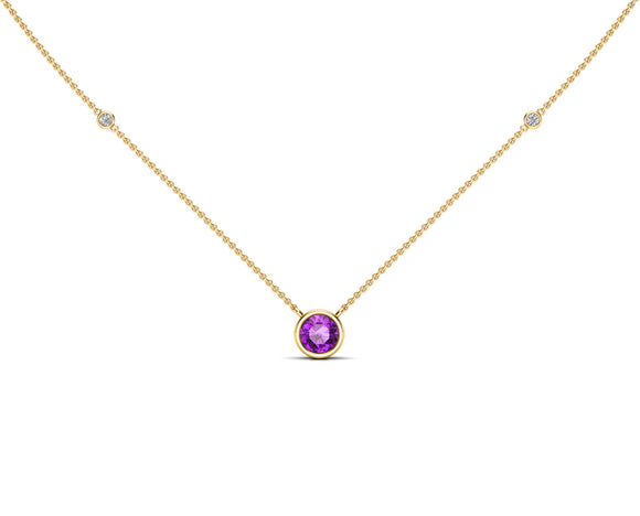 "14K Gold 6 MM Gemstone & White Diamond Accent (0.06 Ct, G-H Color, SI2-I1 Clarity) Necklace, 16""-18"""
