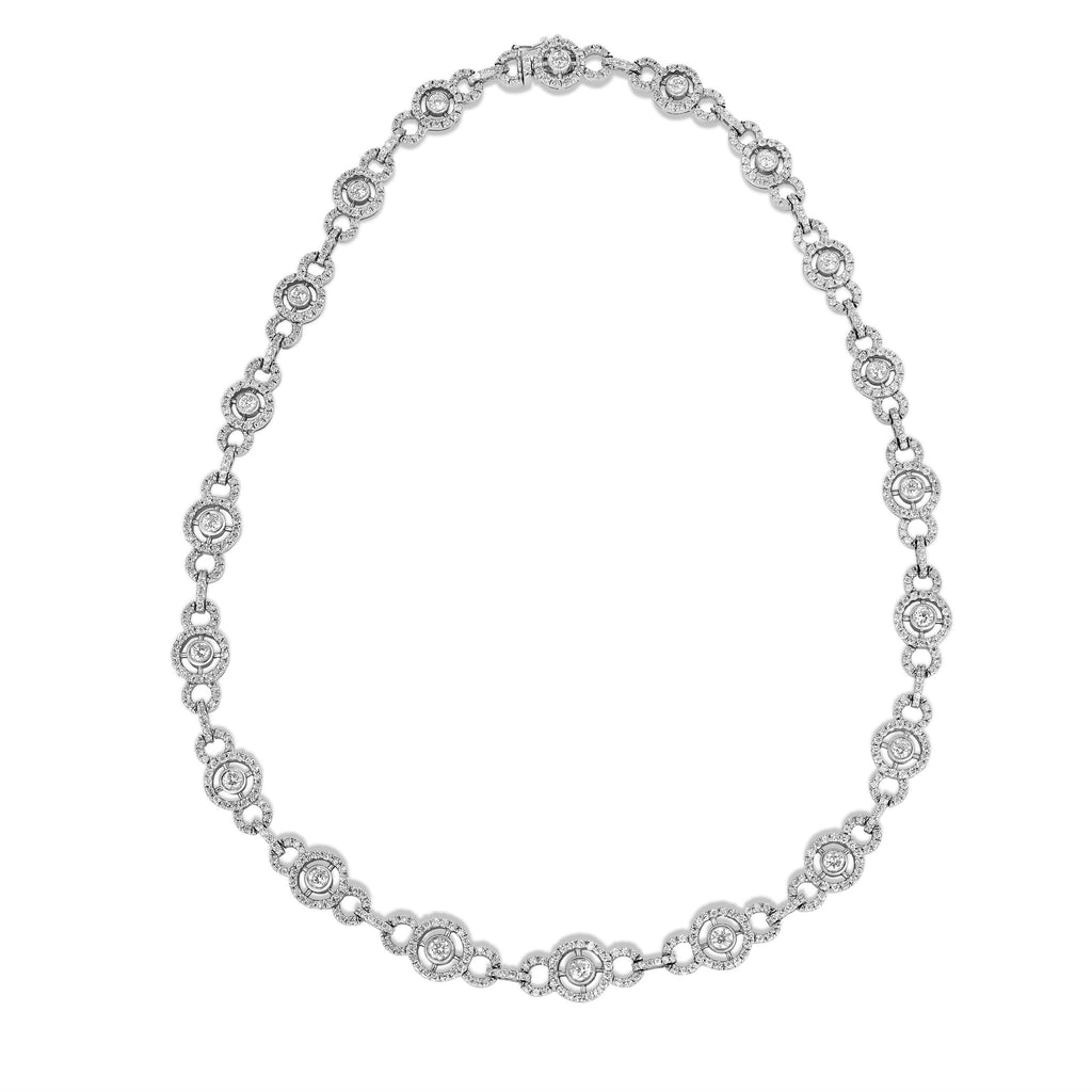 14K White Gold Diamond (9.70 Ct, G-H, SI2-I1 Clarity) Circle Tennis Necklace