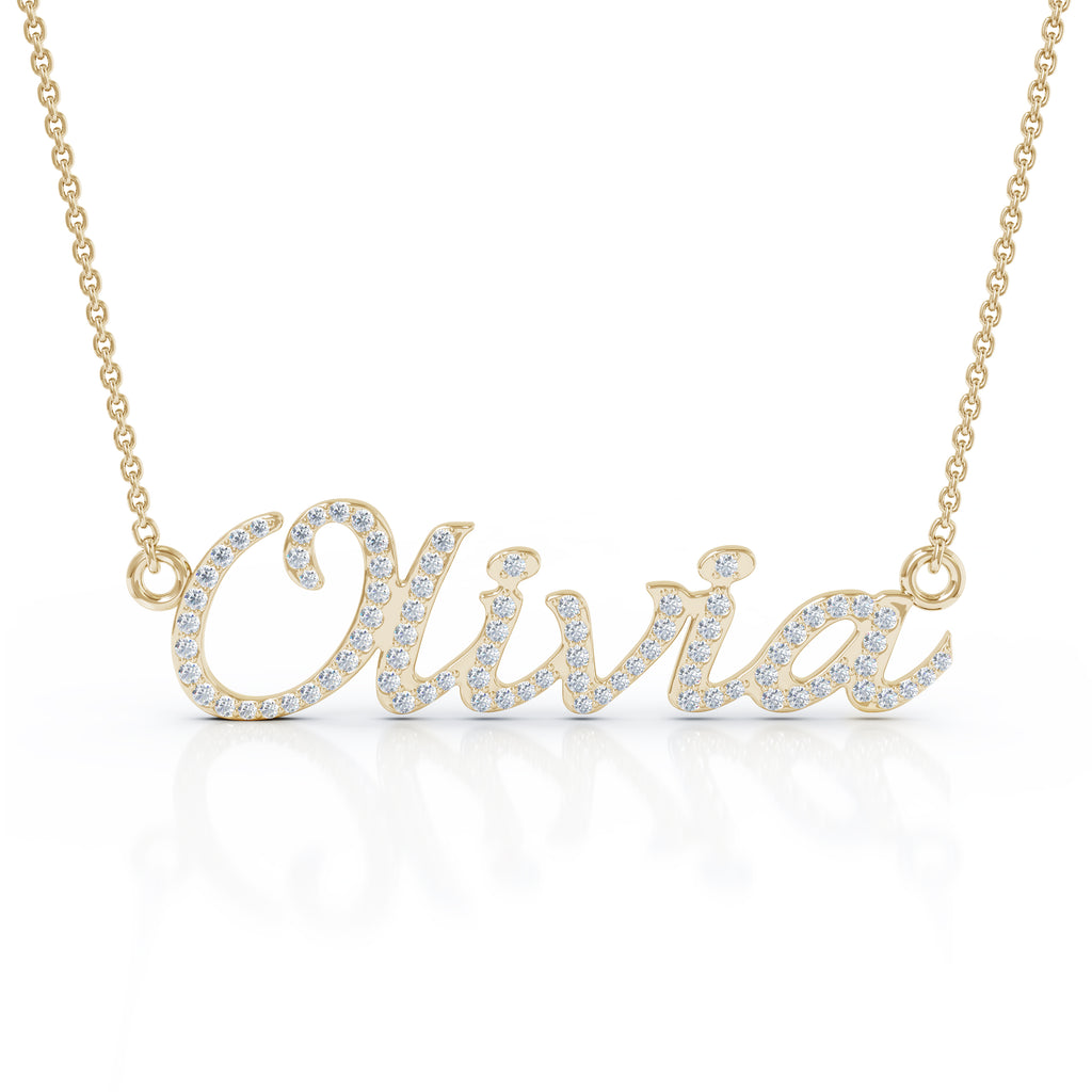 Yellow 14k gold name necklace