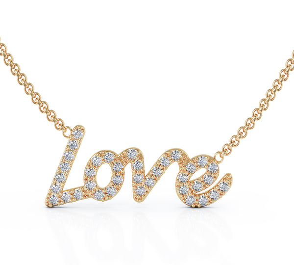14K Gold LOVE Diamond Pendant Necklace (0.35 CT, G-H, SI2-I1), 16-17
