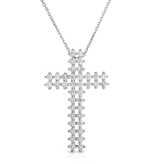 "14K Gold Diamond Double-Row Cross Pendant (1.70 Ct, G-H Color, SI2-I1 Clarity) With 18"" Gold Chain"