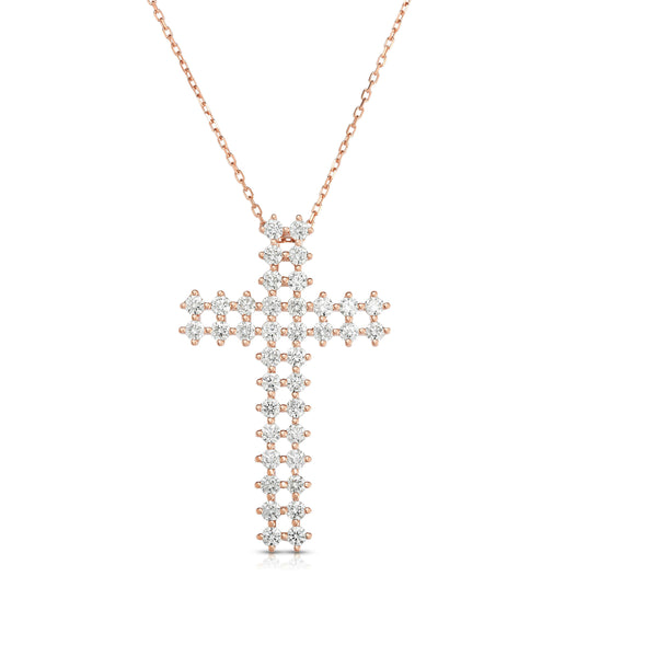 14K Gold Diamond Double-Row Cross Pendant (1.70 Ct, G-H Color, SI2-I1 Clarity) With 18