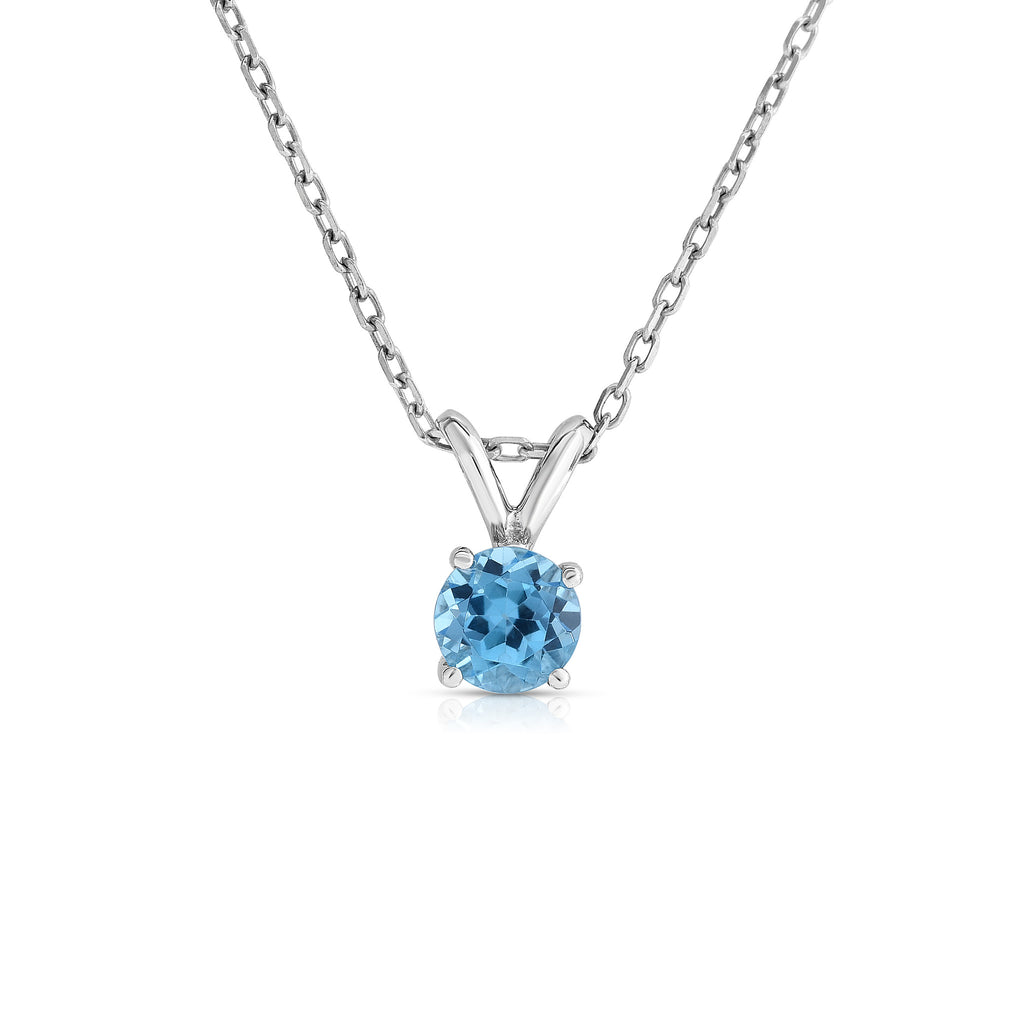 "14K White or Yellow Gold Blue Topaz Solitaire Pendant With 18"" Gold Chain"