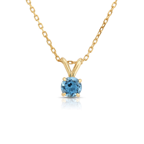 14K White or Yellow Gold Blue Topaz Solitaire Pendant With 18
