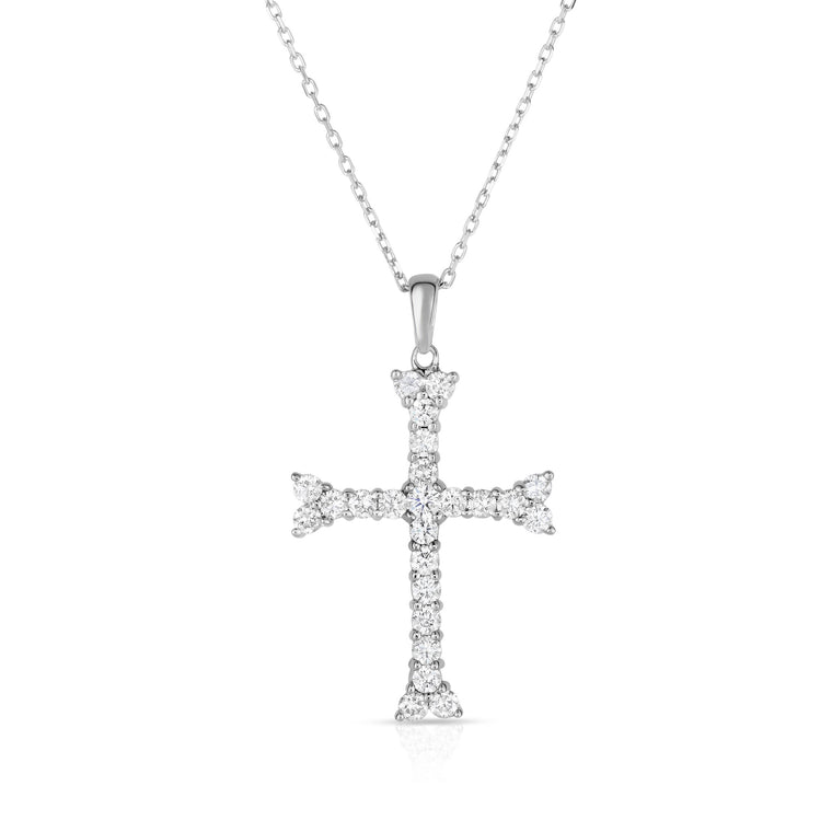 "14K White Gold Diamond (1 Ct, G-H Color, SI2-I1 Clarity) Cross Pendant With 18"" Gold Chain"
