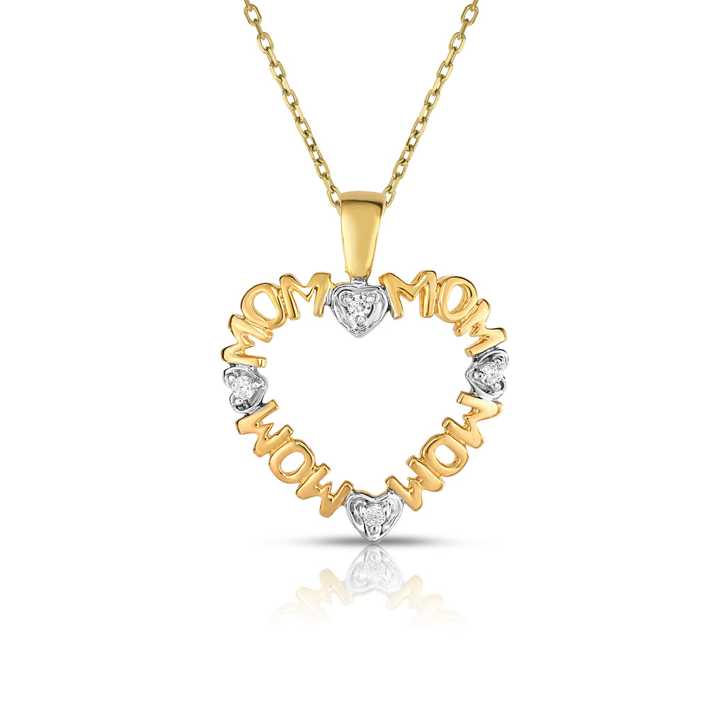"14k Gold Diamond (0.06 Ct, G-H Color, SI2-I1 Clarity) ""MOM"" Heart Pendant"