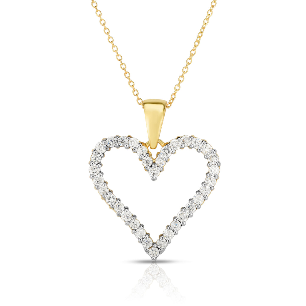"14k Gold Diamond (1 Ct, G-H Color, SI2-I1 Clarity) Heart Pendant, 18"" Gold Chain"