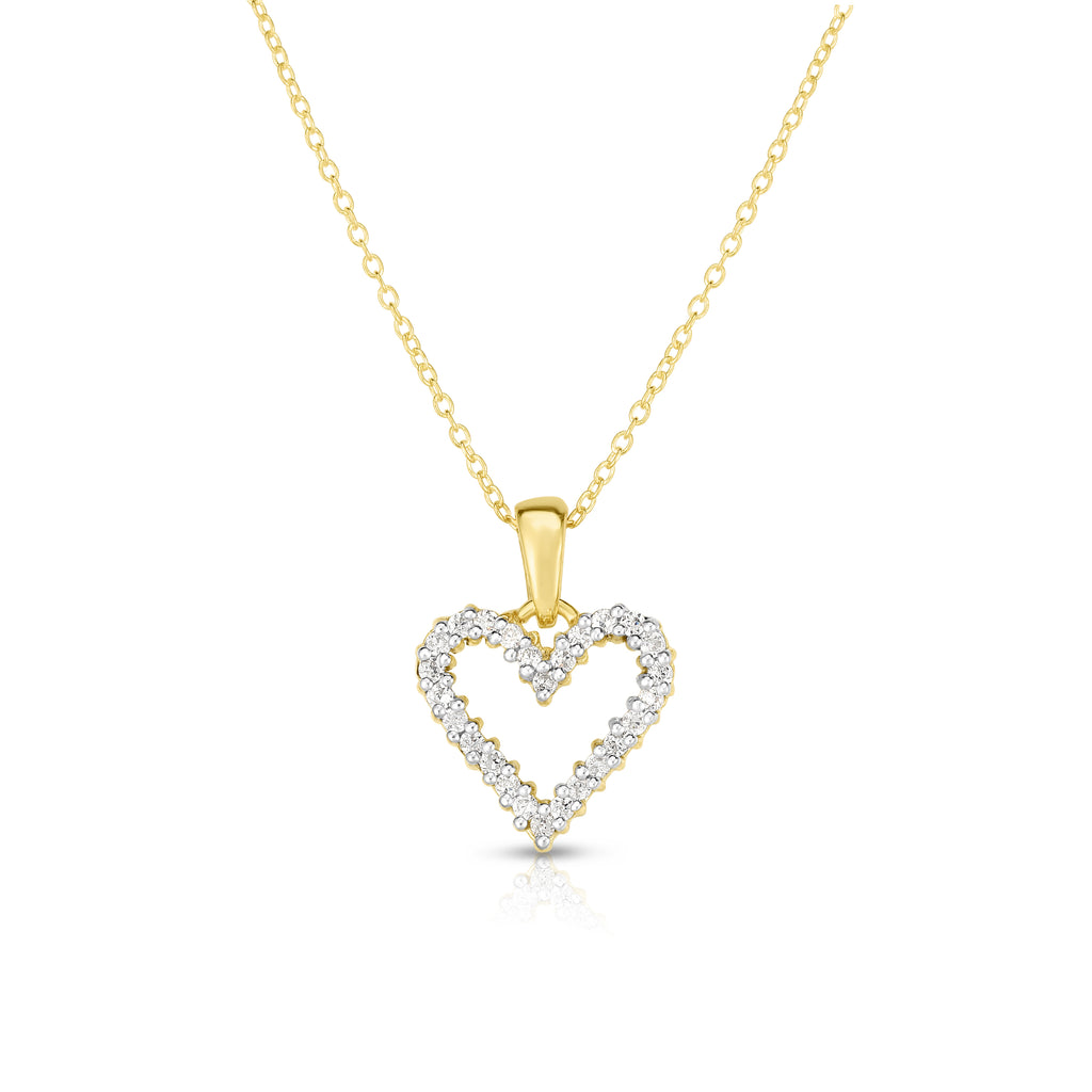 "14k Gold Diamond (1/4 Ct, G-H Color, SI2-I1 Clarity) Heart Pendant, 18"" Gold Chain"