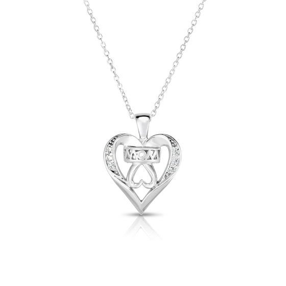 "14k Gold Diamond (0.05 Ct, G-H Color, SI2-I1 Clarity) Mom Double Heart Pendant, 18"" Gold Chain"
