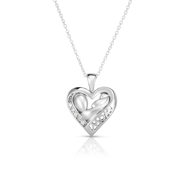 14k Gold Diamond (0.05 Ct, G-H Color, SI2-I1 Clarity) Mother & Child Heart Pendant, 18
